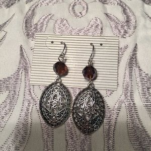 Purple-reddish crystal & silver dangle earrings